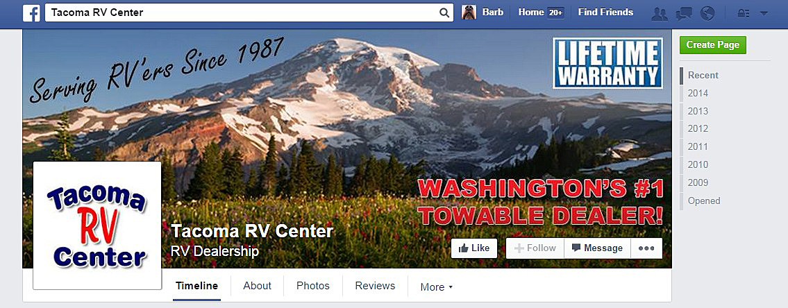 After branding for Tacoma RV Center on Facebook