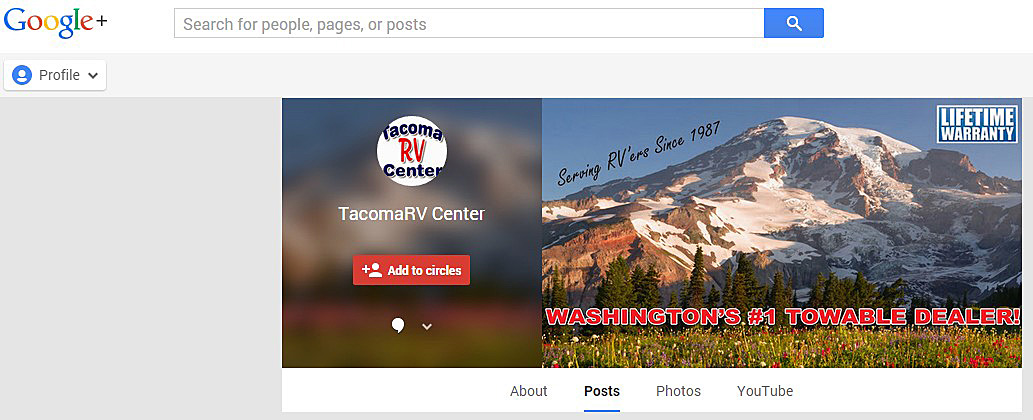 After branding for Tacoma RV Center on Google Plus