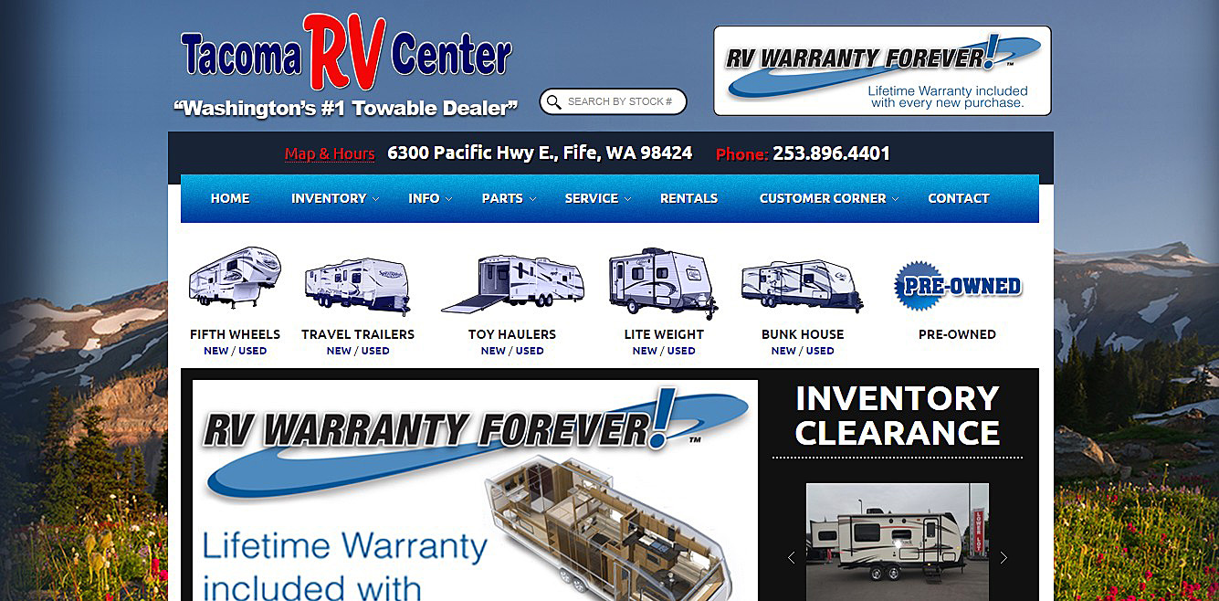 After branding for Tacoma RV Center website.