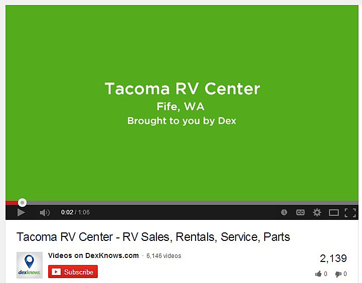 before branding photo of Tacoma RV Center on YouTube.4